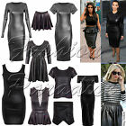 Ladies Womens Wetlook Pvc Leather Bodycon Tunic Dress Peplum Top Leggings Skirt