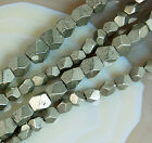 "Faceted Natural Pyrite Beads 15.5"" 4x5mm 6x7mm"