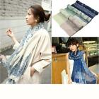 Women Long Floral Print Cotton Scarf Wrap Shawl Girls Large Silk Scarves PK