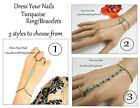 Harness Bracelet with Ring  Costume Jewellery Chain - Turquoise Wedding Party-uk