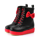 Women's Bowknot Platform Ankle Low Heel Round Toe Lace Up Combat Boot Rain shoes