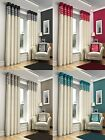 MODERN RING TOP EYELET FAUX SILK LOOK FULLY LINED CURTAINS SKYE RETRO METALLIC