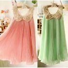 Child Girl Kid Baby Sequin Pleated Skirt Chiffon Party Dress Outfit Pageant 2-7T