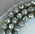 4mm Faceted Natural Pyrite Round Beads 15.5""