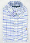 Polo Ralph Lauren Men Long Sleeve Check White Blue Custom Fit Oxford Shirt New