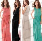 Stylish Women's Girls Elegant Pleated Wave Lace Strap Chiffon Maxi Long Dress