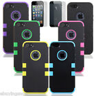 Triple Layer Hybrid Case Silicone Cover for iPhone 5 5G 5S w/ Screen Protector