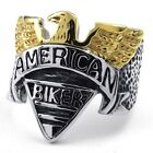 316L Stainless Steel Titanium Gothic American Biker Eagle Rock N' Roll Cast Ring