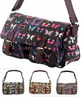 Ladies Girls Satchel Handbag Shoulder Bag Designer Canvas Butterfly Print NEW