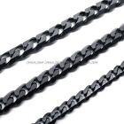 Jewelry 316L Stainless Steel Titanium 4MM Black Heavy Solid Necklace Chain DIY