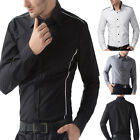 New Mens Long Sleeve Casual Slim Fit Luxury Stylish Dress Shirts 3 Colors S-XL