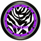 PURPLE AND BLACK ZEBRA PRINT WALL CLOCK PERSONALIZED GIFT GIRLS BEDROOM DECOR