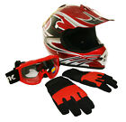 Lunatic Youth MX / ATV Red Helmet with Graphic, Goggles & Gloves - DOT Approved