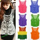 Sexy Lace Floral Sleeveless Crochet Knit Women Vest Tank Top Shirt 5Size12Colors