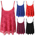 C15-LADIES FLORAL LACE SWING STRAPPY LINED CAMI CAMISOLE VEST TOP-SIZE 8-14
