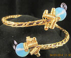 gold & blue steel handcrafted bracelet with 11mm opelite beads USA by Marie #452