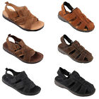 Mens Boys Leather Soft Sole Classic Closed Toe Summer Velcro Sandals Shoes Size