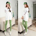 New Women Girl Skinny Colorful Stripe Stretchy Soft Leggings Pencil Tight