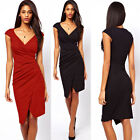 Office Lady Woman Cap Sleeve Shirt Fashion Casual Pencil Cocktail Dress Bodycon