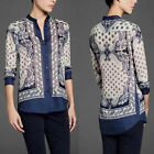 Womens Shirt Retro Printing Pattern Long Sleeve Stand-up Collar Blouse Top