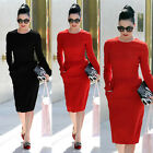 Vintage Pencil Dress Formal Party Office Long Sleeve Round Neck Sheath Dresses