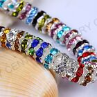 100pcs Czech Crystal Rhinestone Silver Rondelle Spacer Beads 8mm image