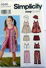Simplicity Pattern #5540 Spring/Summer Dress Shorts Pants Top Hat  Size 3-8