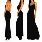 Luxury Backless Long Minimalist Fit Dress Pageant Evening Prom Bridal Party Gown