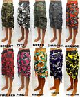 Men's FOCUS cargo camo shorts blue green purple red orange teal city style 14005