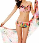 3 Pc Pink Floral Bikini Top Skirted Bottom Beach Cover Up Sarong Wrap Dress Set