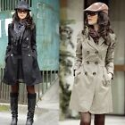 Fashion Womens Trench Long Sleeve Slim Fit Double Breasted Coat Outwear Jacket