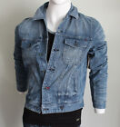 Guess Men blue Bengal wash with screen print  denim Jacket size S or M