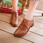 Womens Retro Punched Detail Lace Up Cuban Heel Pumps Casual Oxford Brogue Shoes