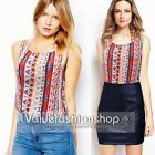 Womens Summer Boho Chiffon Tribal Printed Tunic Sleeveless Blouse Shirts Top 789