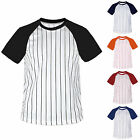 New Mens Baseball Stripe Raglan Short Sleeves T-Shirt Jersey Round Neck Tee Team image