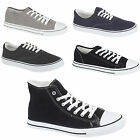 MENS CANVAS LACE UP PLIMSOLL FLAT GYM SHOES SNEAKERS HOLIDAY TRAINER PUMPS SIZE