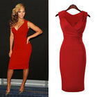 Red Ladies Sexy V-Neck Cocktail Party Evening Bodycon Dresses Pencil Dress