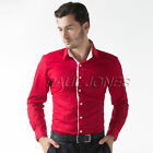 New Mens Cotton Pateched Casual Slim Fit Stylish Button Dress Shirts IN 4Colors