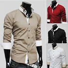 New Trendy Men's Casual Business Formal Dress Shirts Slim Fit Shirt Tops 4Colors