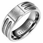 Willis Judd Mens Silver Titanium Masonic Ring With Latin Engraving Inside for sale