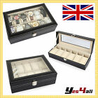 6 10 12 WATCH JEWELRY DISPLAY BLACK LEATHER STORAGE BRACELET TRAY CASE BOX SET