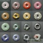 Natural Gemstone Round Donut Ring Pendant 50mm Beads Necklace Earring Jewelry