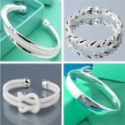 NEW Gift Fashion Jewelry Wholesale Womens MENS 925Silver Bracelet Bangle + Box