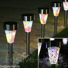 6 SOLAR POWERED MOSAIC BORDER STAKE PATH STAINLESS STEEL OUTDOOR GARDEN LIGHTS