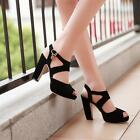 Womens Pretty Hollow Out Peep Toe Ankle Strap Block Heel Platform Pumps Sandals