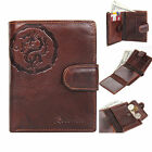 New Men Vintage Genuine Leather Wallet Bifold Zipper Coins Pocket Purse <MW022>