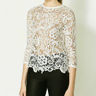 Lace Crochet T-Shirt Women Hot Sheer Hollow Out Knitted Tops [JG]