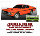 QG-532 QG-533 1971-72 DODGE DEMON - SIDE STRIPE and TAIL PANEL STRIPE - COMBO
