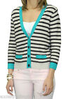 AUGUST SILK Women's Teal Combo Striped Cropped 3/4 Sl. Cardigan 0717031 $68 NEW