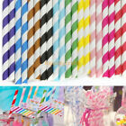 25-100pcs Biodegradable Paper Striped Drinking Straws For Birthday Wedding Party